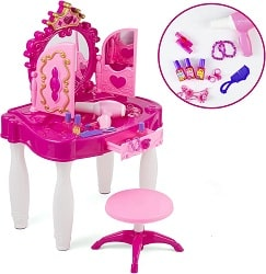 Pretend Play Kids Vanity Table and Chair