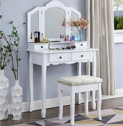 Roundhill White Wooden Vanity Make Up Table and Stool Set