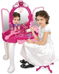 SainSmart Jr. Pretend Princess Girls Vanity Table and stool