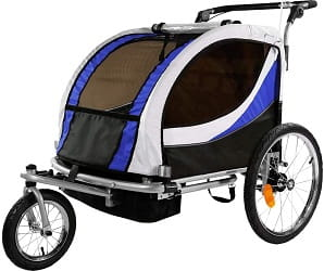 Clevr Deluxe Double Seat Bicycle Bike Trailer