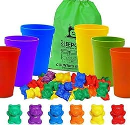 Gleeporte Colorful Counting Bears with Coordinated Cups
