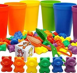 Skoolzy Rainbow Counting Bears Matching Cups